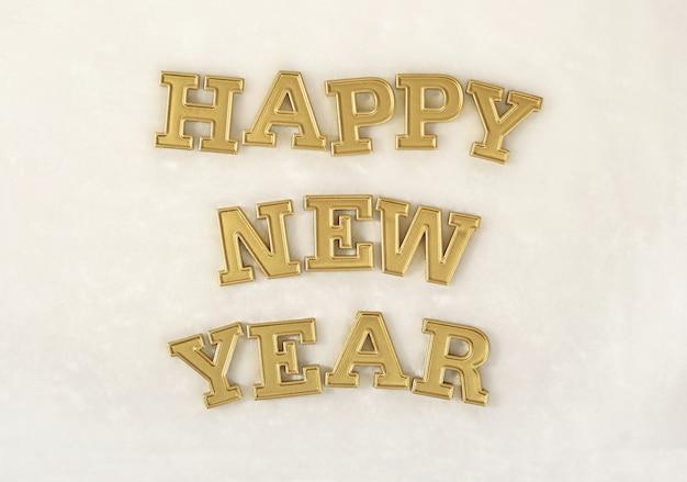 Szczęśliwego nowego roku złoty tekst na białym tle