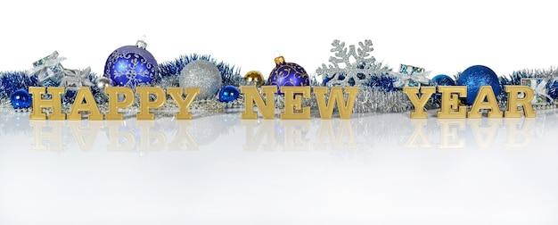 Szczęśliwego nowego roku złoty tekst na tle ozdób choinkowych