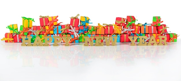 Szczęśliwego nowego roku złoty tekst na tle różnobarwnych prezentów