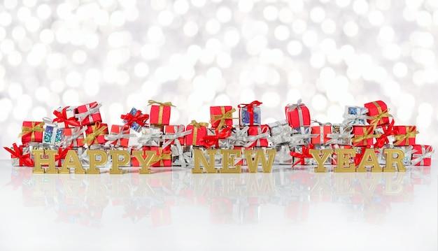 Szczęśliwego nowego roku złoty tekst na tle srebrnych i czerwonych prezentów na tle bokeh