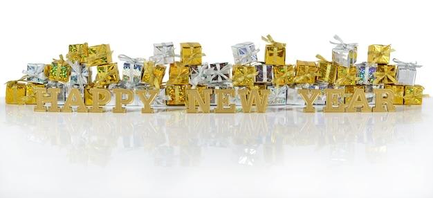Szczęśliwego nowego roku złoty tekst na tle złotych i srebrnych prezentów
