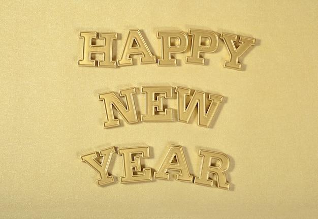 Szczęśliwego nowego roku złoty tekst na złotym tle