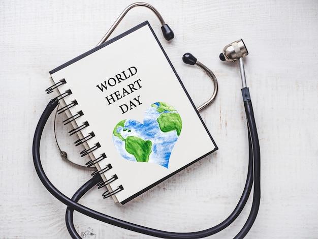 Szczęśliwego światowego dnia serca. piękna karta.