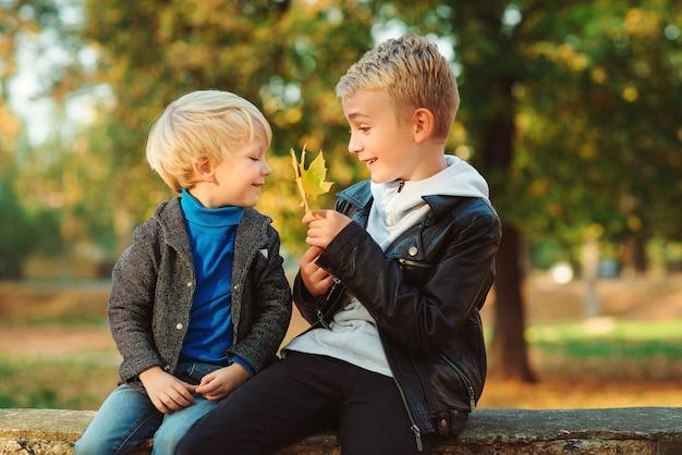 Szczęśliwi bracia spędzać czas razem w parku jesień.