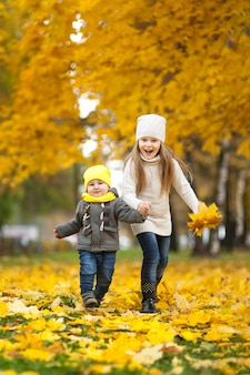 Szczęśliwi dzieci bawić się w pięknym jesień parku na zimnym pogodnym spadku dniu. dzieci w ciepłych kurtkach bawią się złotymi liśćmi.