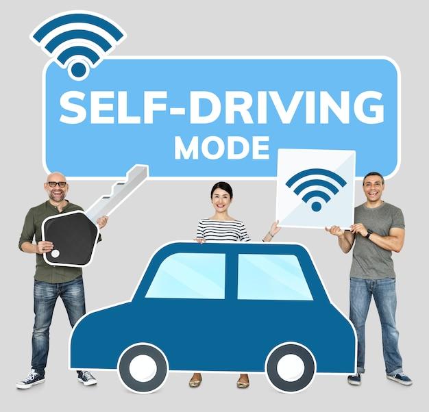 Szczęśliwi ludzie z zaawansowanym technologicznie samochodem