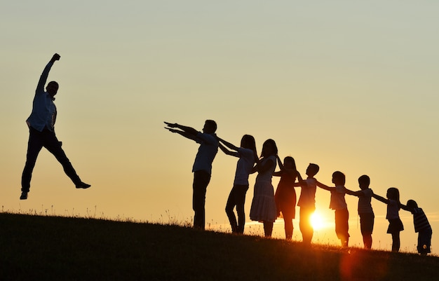 Szczęśliwi pomyślni ludzie sylwetek outdoors