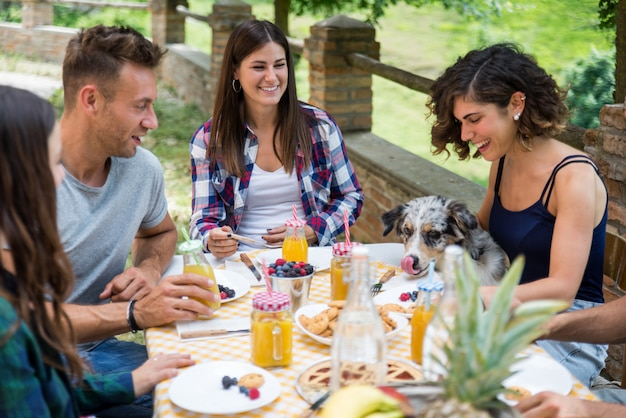 Szczęśliwi przyjaciele robi śniadaniu w dom na wsi