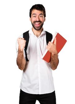 Szczęśliwy człowiek studenta