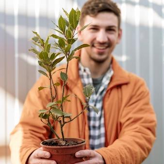 Szczęśliwy człowiek trzyma garnek z małym drzewkiem