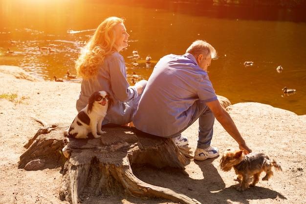 Szczęśliwy dorośleć pary obsiadanie na jeziorze w słońcu z ich psami. pojęcie rodzinne wakacje w przyrodzie