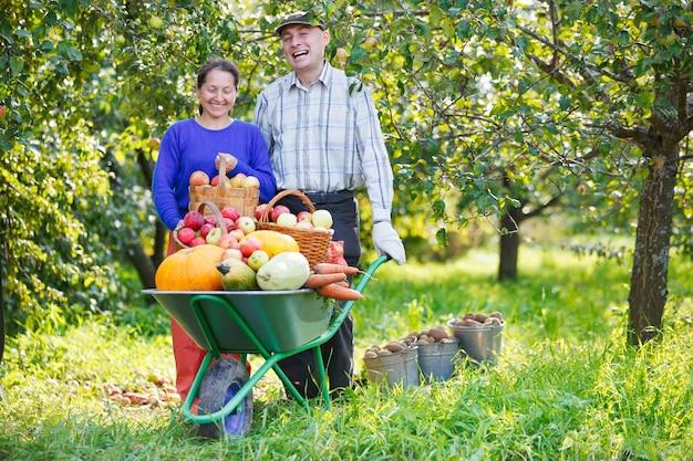 Szczęśliwy dorosły mężczyzna i kobieta zbiera w ogrodzie na zewnątrz