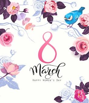 Szczęśliwy dzień kobiet pocztówka, zaproszenie na przyjęcie lub świąteczny szablon transparent z eleganckim napisem, dzikie różowe kwiaty róży, niebieski ptak na białym tle. ilustracja wektorowa na obchody 8 marca.