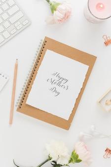 Szczęśliwy dzień matki karty ze świecą
