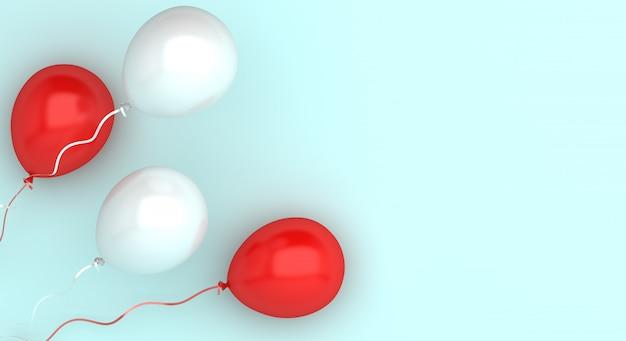 Szczęśliwy dzień niepodległości indonezji lub polski dekoracji tła z miejsca na kopię balonu