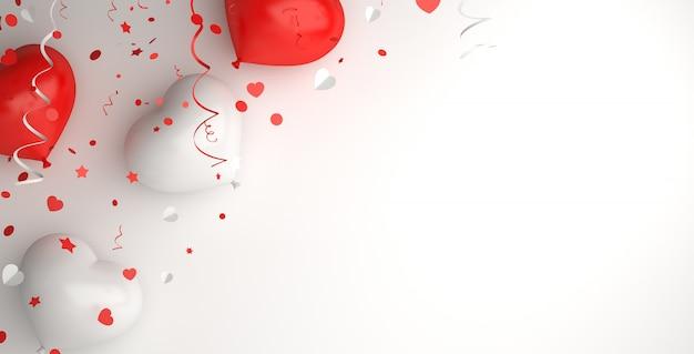 Szczęśliwy dzień niepodległości indonezji lub polski dekoracji tła z miejsca na kopię w kształcie serca balon
