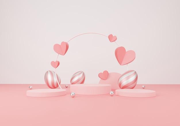 Szczęśliwy dzień wielkanocy. minimalistyczna scena z geometrycznymi formami. wyświetlacz cylindra na podium i wielkanoc, srebrna kula lub makieta produktu w różowym pastelowym tle. ilustracja 3d