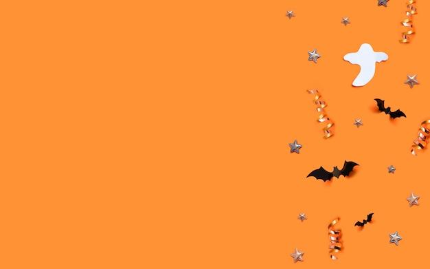 Szczęśliwy halloweenowy kartka z pozdrowieniami tło z copyspace. koncepcja cukierek albo psikus.