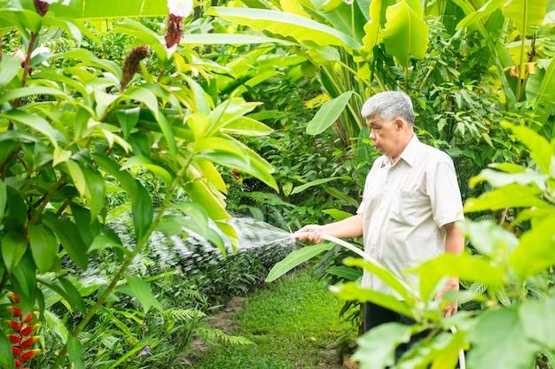 Szczęśliwy i uśmiechnięty starszy starszy mężczyzna z azji podlewa rośliny i kwiaty dla hobby