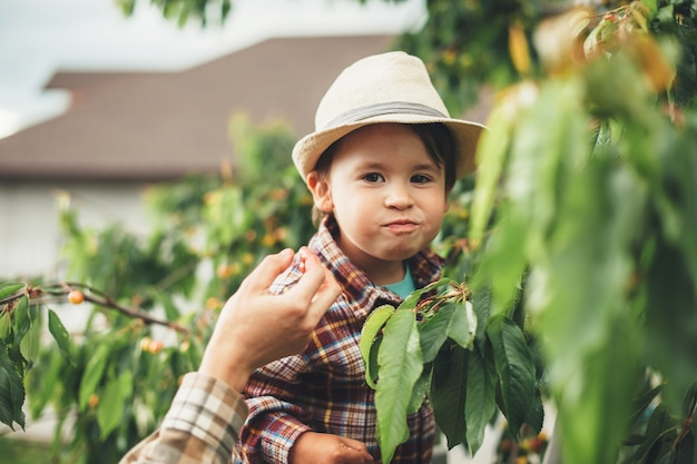 Szczęśliwy kaukaski chłopiec z kapeluszem uśmiecha się do kamery podczas jedzenia wiśni stojących w pobliżu jego rodziców