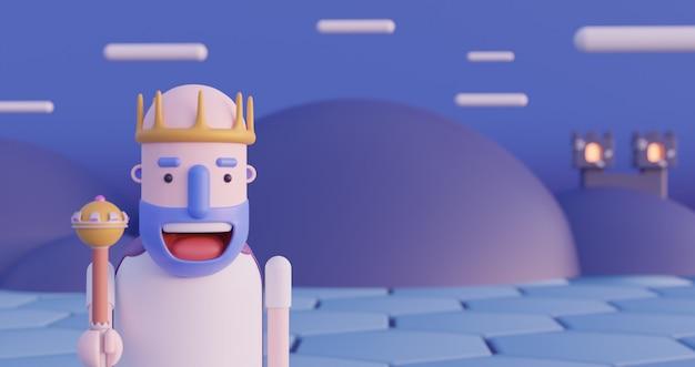 Szczęśliwy król. zimowy urlop. 3d świadczonych ilustracji w 4k.
