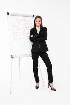 Szczęśliwy ładny bizneswoman blisko biznesplanu i pokazywać je