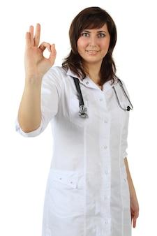 Szczęśliwy lekarz - znak ok, na białym tle