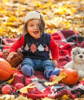 Szczęśliwy mały chłopiec na koc piknikowy