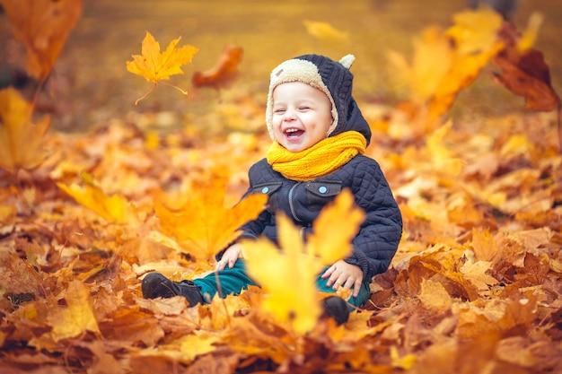 Szczęśliwy mały chłopiec siedzi w stosie liści