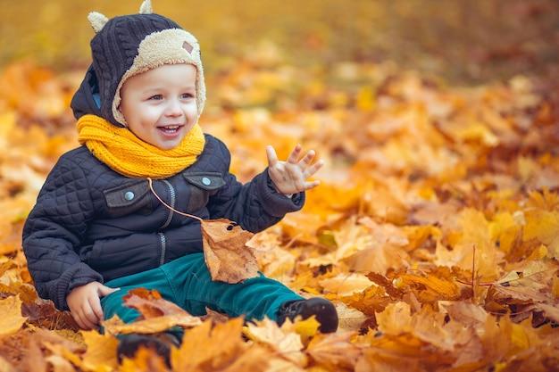 Szczęśliwy mały chłopiec w jesiennym parku