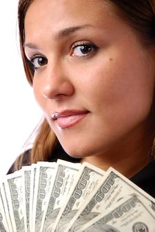 Szczęśliwy młoda kobieta portret z pieniądze