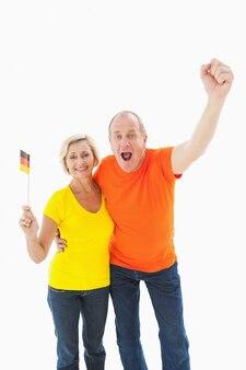 Szczęśliwy niemiecki para doping na kamery
