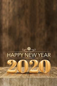 Szczęśliwy nowy rok 2020 przy drewnianym bloku stołem i plamy drewnianą ścianą, pionowo sztandaru wakacyjny kartka z pozdrowieniami dla ogólnospołecznych środków (3d rendering).