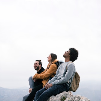 Szczęśliwy portret młodzi przyjaciele siedzi na halnym szczycie