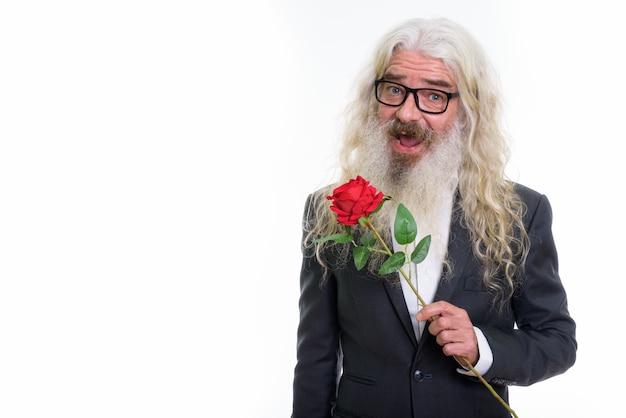 Szczęśliwy starszy biznesmen brodaty uśmiechnięty, podczas gdy czerwona róża