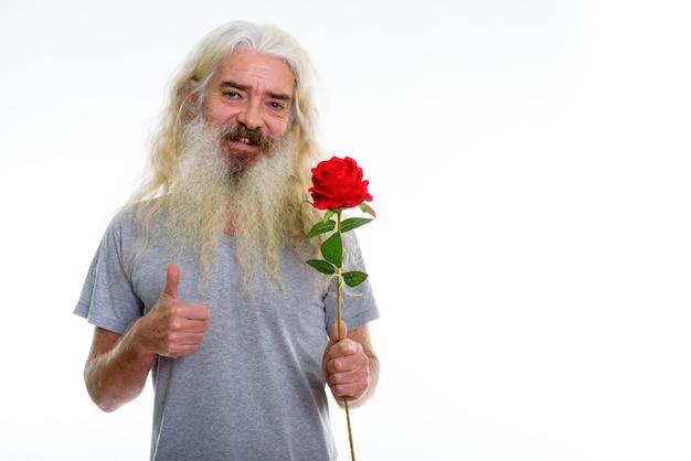 Szczęśliwy starszy brodaty mężczyzna uśmiecha się trzymając czerwoną różę