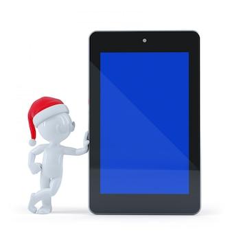 Szczęśliwy święty mikołaj z pustego ekranu pastylki komputerem