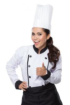 Szczęśliwy szef kuchni daje aprobatom