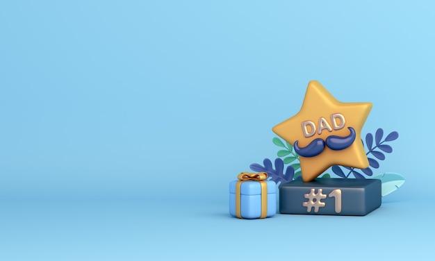 Szczęśliwy tło dekoracji dnia ojców z pudełkiem na prezent z trofeum