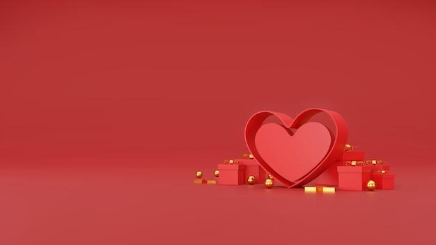Szczęśliwy transparent walentynki. serce, prezent i pudełko na czerwonym tle. miejsce na tekst. ilustracja 3d