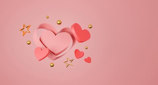 Szczęśliwy transparent walentynki. serce, prezent i pudełko na różowym tle. miejsce na tekst. ilustracja 3d