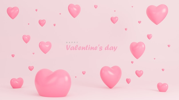Szczęśliwy transparent walentynki z wielu serc obiektów 3d na różowym tle.