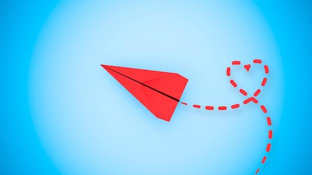 Szczęśliwy walentynki koncepcja z papieru samolot