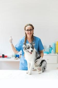 Szczęśliwy żeński weterynarz z psem na stołowym pokazuje thumbup znaku