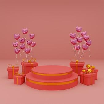 Szczęśliwych walentynek na podium prezentacji produktu z pudełkiem i balonami serce na czerwonym tle. renderowanie 3d