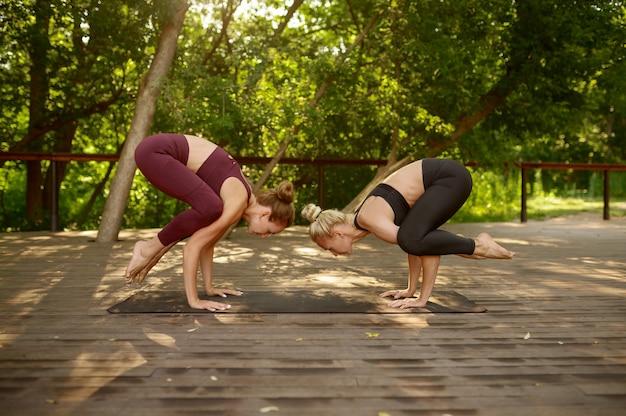 Szczupłe kobiety stoją na rękach, równoważą ćwiczenia na grupowym treningu jogi w letnim parku