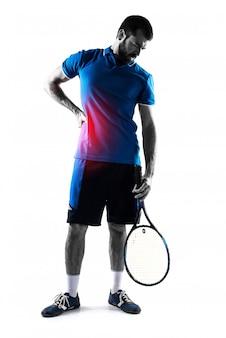 Szczupły korpus dotyka rakiety tenisowej