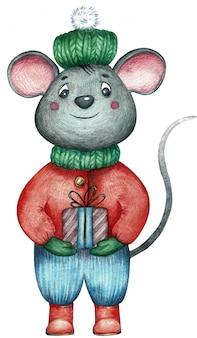Szczur ubrany w zimowe ubrania z prezentem