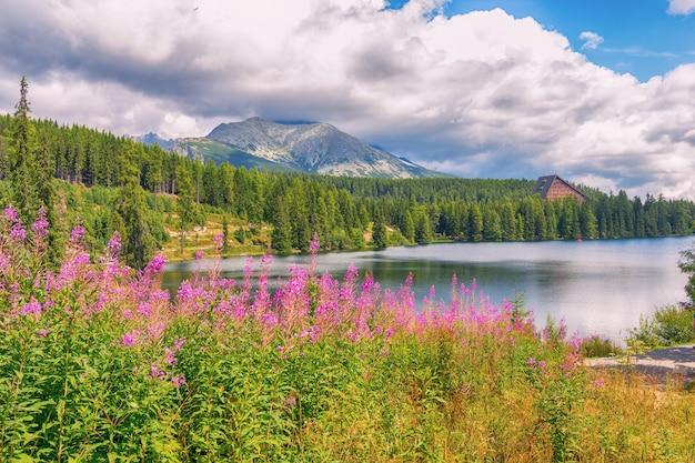 Szczyrbskie jezioro wysokie tatry. słowacja europa. panoramiczny widok na szczyty tatr wysokich.