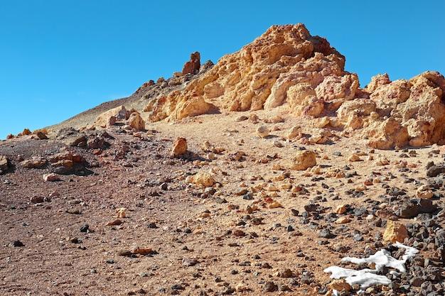 Szczyt wulkanu w parku narodowym na teneryfie.